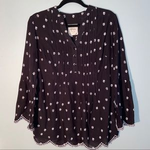 Style & Co Blk-Wht design Tunic Bell Sleeves Small